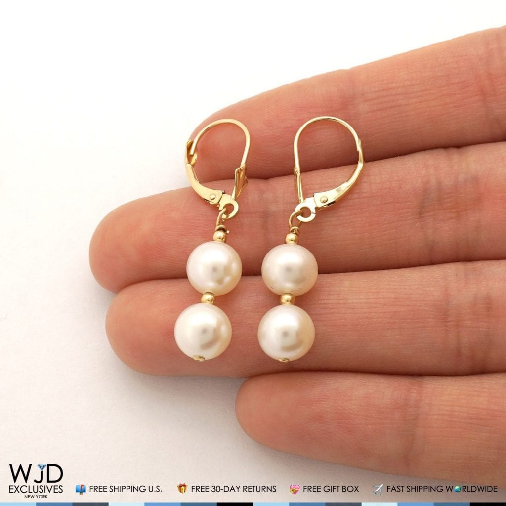 c2da508b7787f8 Leverback Pearl Drop Earrings - Best All Earring Photos Kamilmaciol.Com