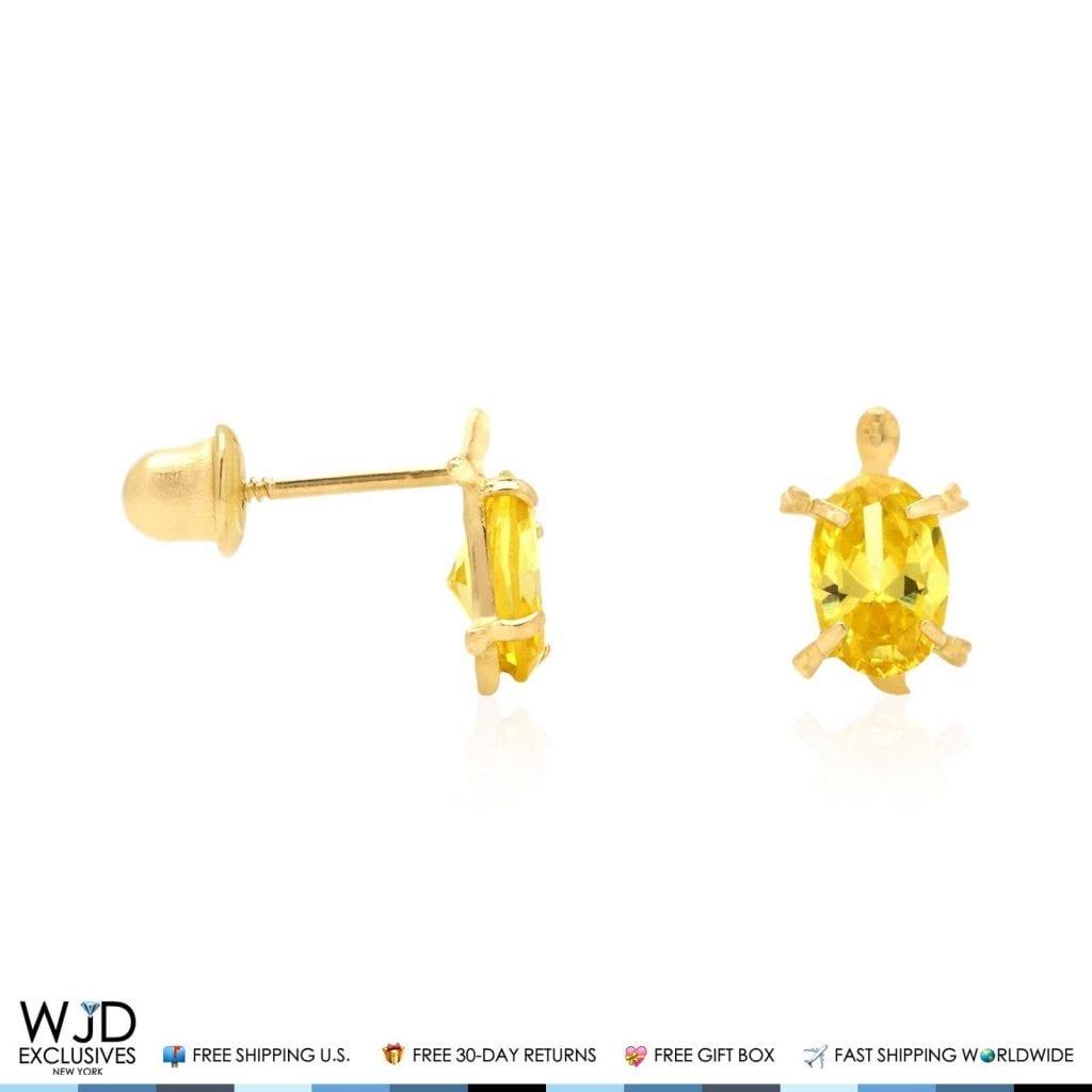 14k Yellow Gold Oval Birthstone Turtle Screw Back Stud Kid Earrings