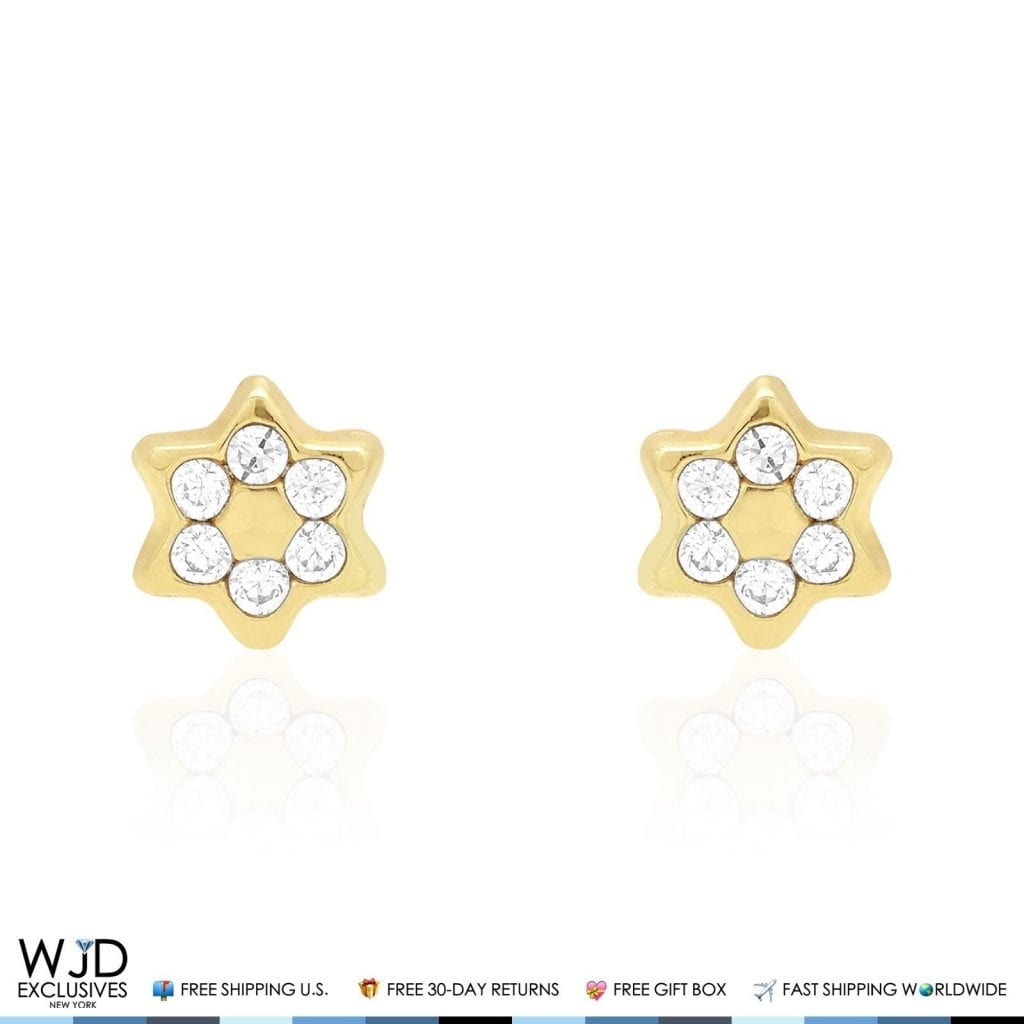 14K Solid Yellow Gold White Zircon Star Of David Screwback Stud ...
