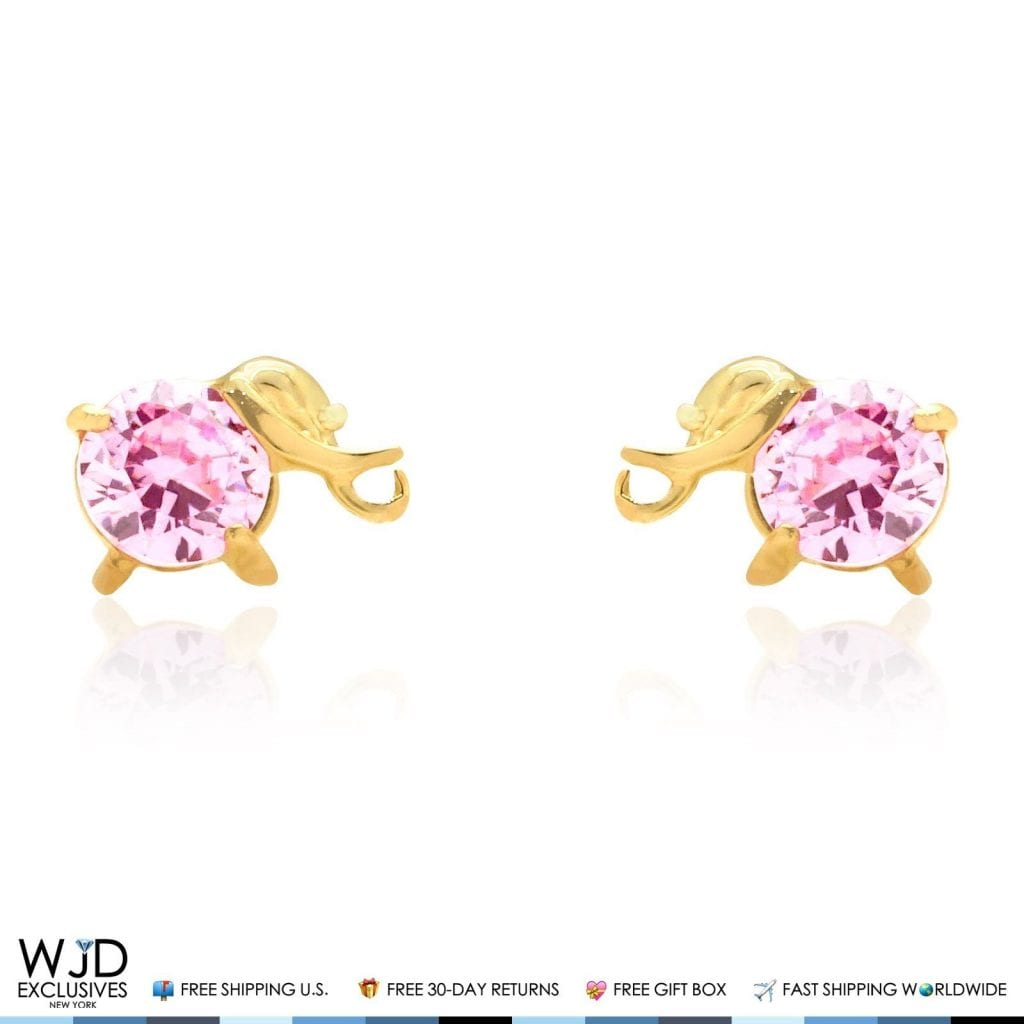 14k Yellow or White Gold Round Simulated Pink Tourmaline Screwback Earrings