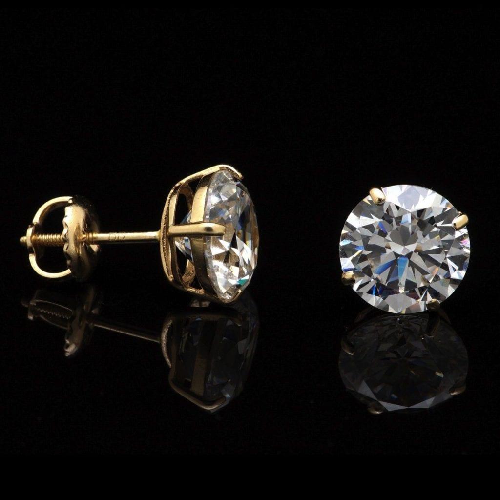 14k yellow gold 4ct simulated diamond round stud screw. Black Bedroom Furniture Sets. Home Design Ideas