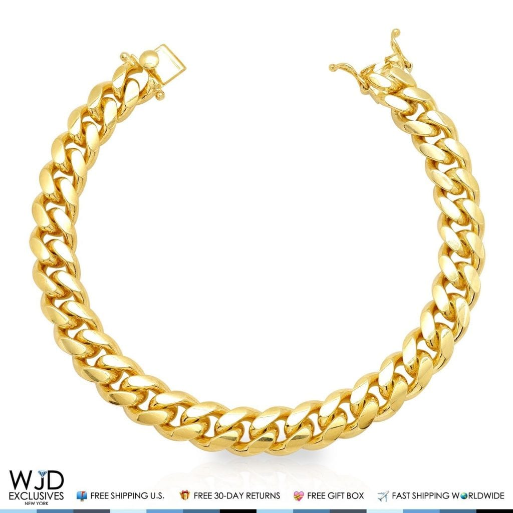 Yellow Gold Over 925 Silver 12mm Wide Miami Cuban Link Chain Bracelet 9