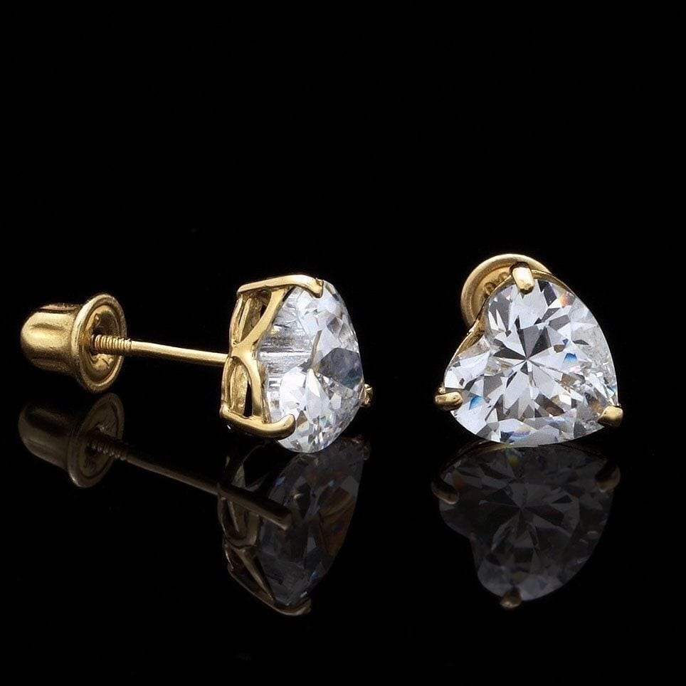 56c373d01 .50Ct Created Diamond Heart Shaped 14K Yellow Gold Screwback Stud Earrings  4mm   WJD Exclusives