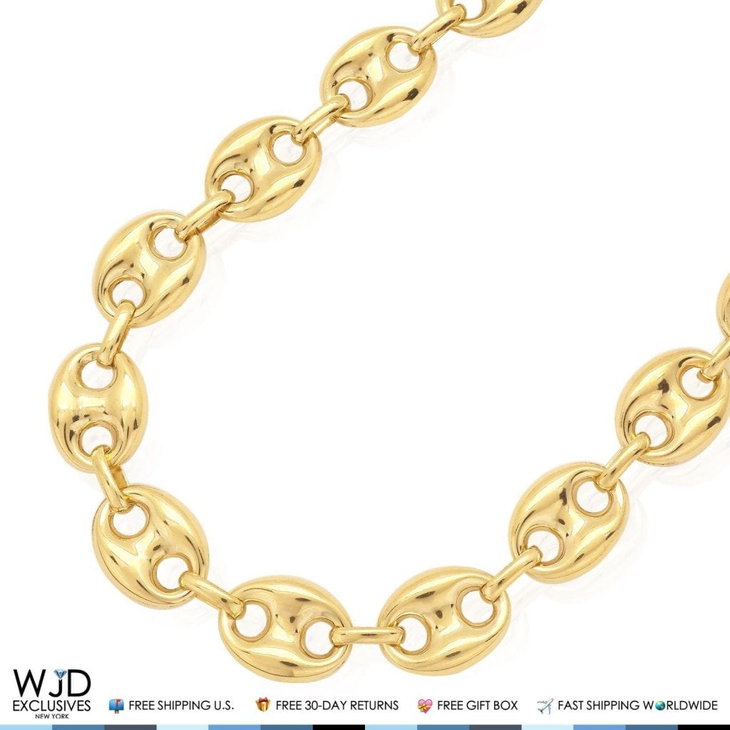 10k Yellow Gold 12mm Fancy Gucci Anchor Link Chain
