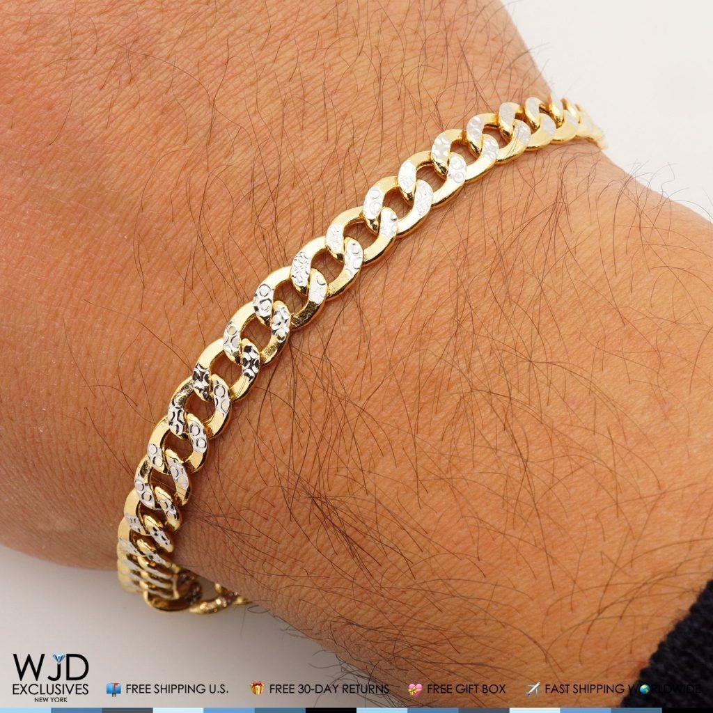 14k Yellow Gold 6 7mm Cuban Curb Diamond Cut Men S Bracelet 8 Wjd Exclusives