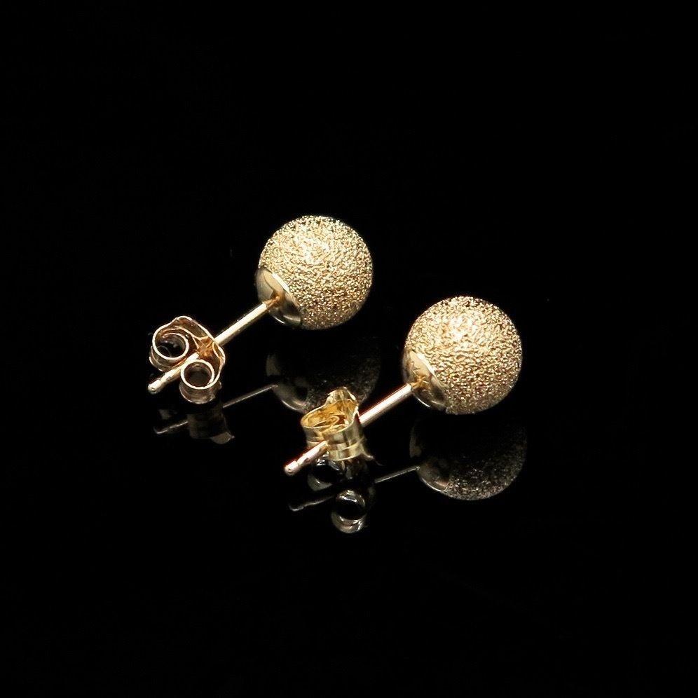 14K Yellow Gold 6mm Laser Cut Star Dust Ball Stud Earrings
