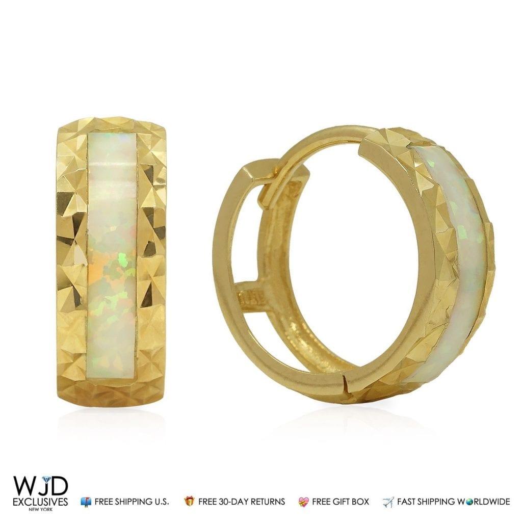 4a8532cb12a19 14K Yellow Gold Diamond Cut 5mm Wide White Opal Inlay Huggie Hoop Earrings  | WJD Exclusives