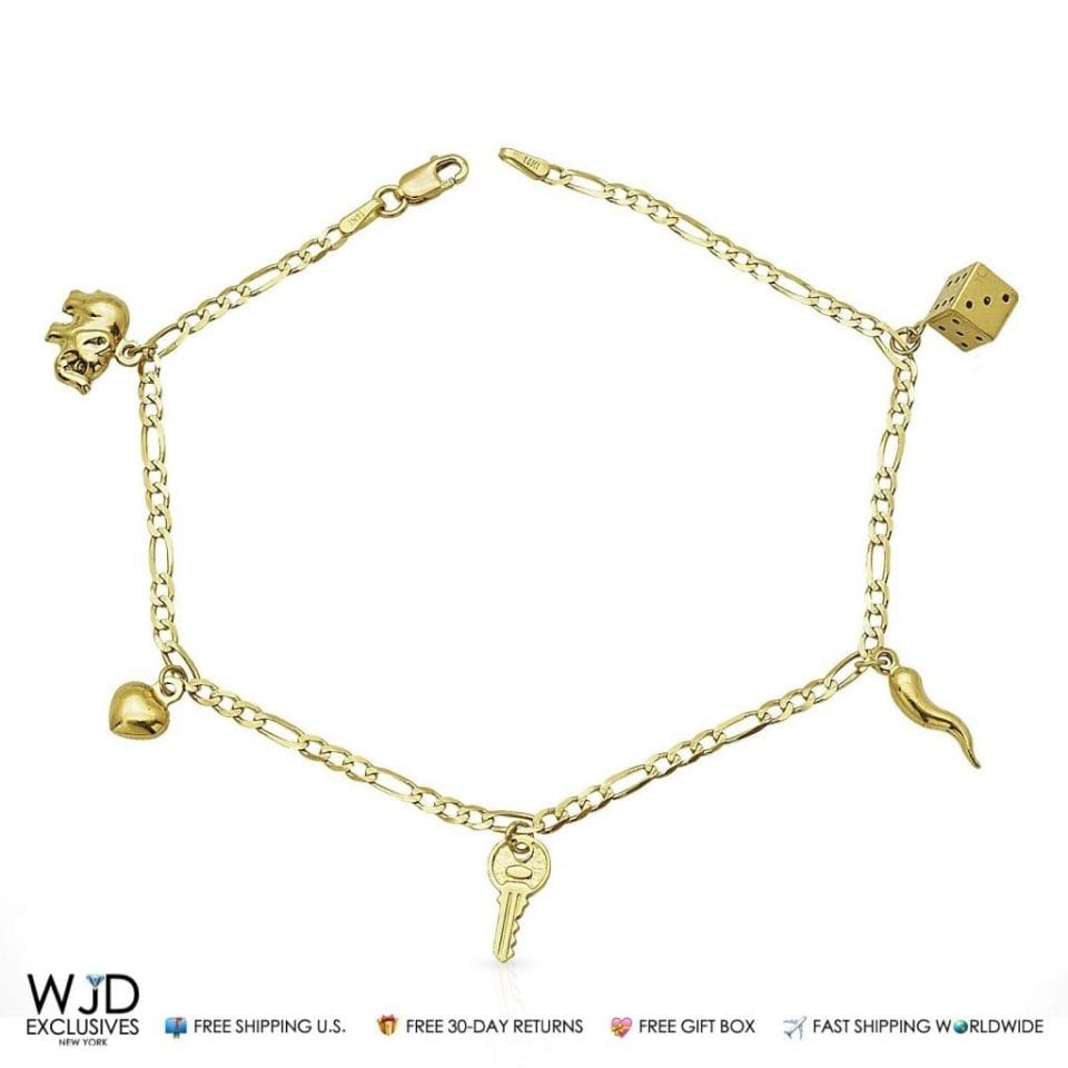 gold clasp anklet rolo shipping itm solid fast spring link worldwide bracelet elephant ring yellow