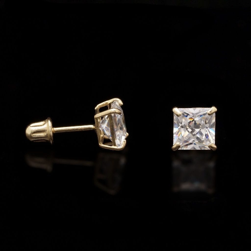274ef6f2d 1.5Ct Created Diamond Princess Cut 14K Yellow Gold Solitaire Stud Earrings  5mm | WJD Exclusives