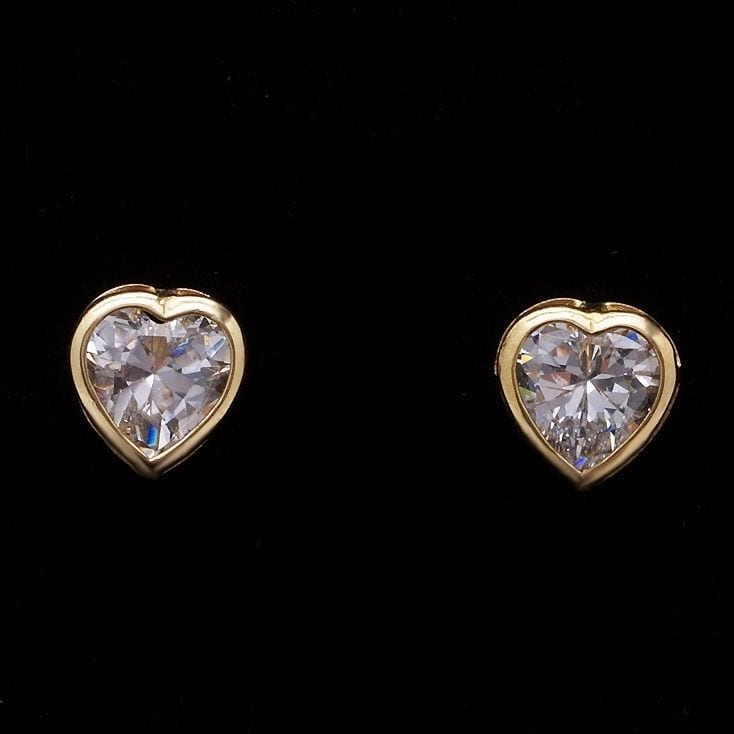 gold yellow earrings dsc trillion products bezel stud moissanite set