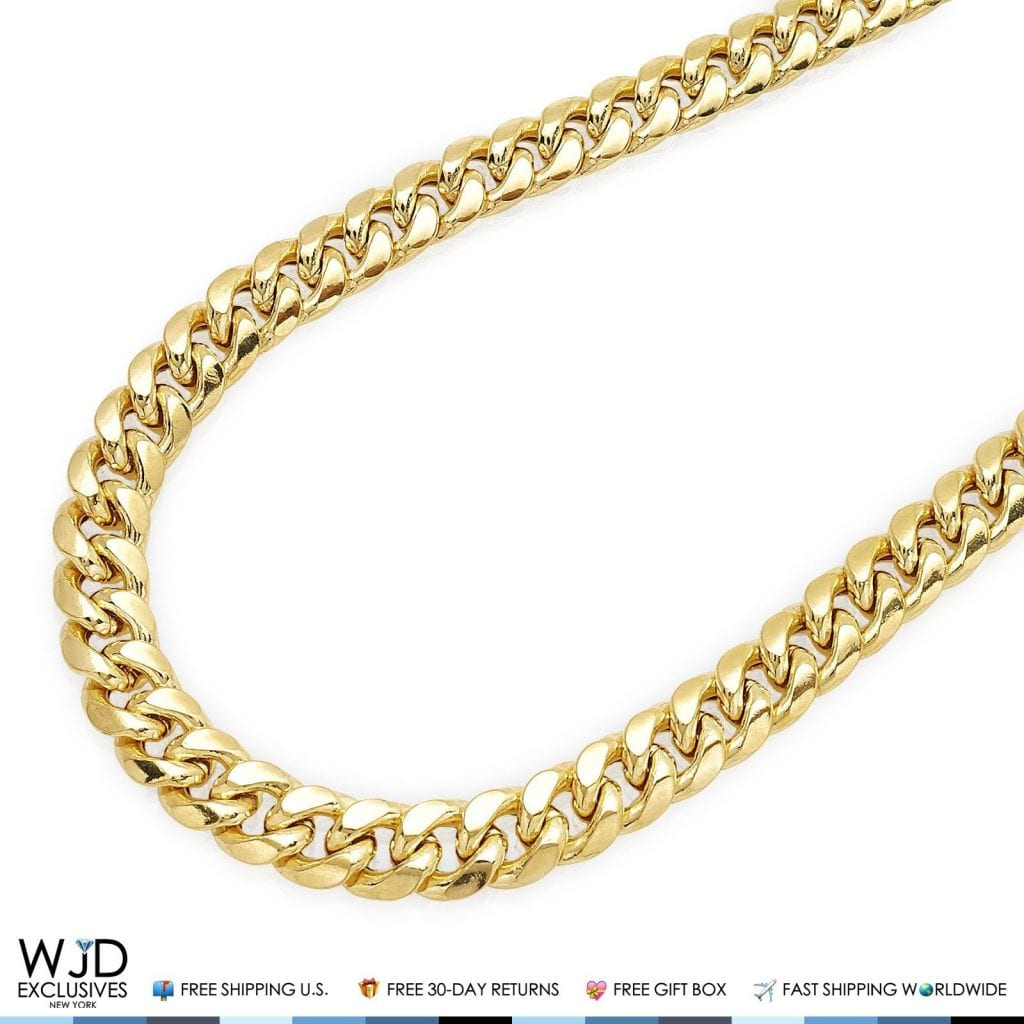 14k Yellow Gold Hollow Miami Cuban Link 9 5mm Chain