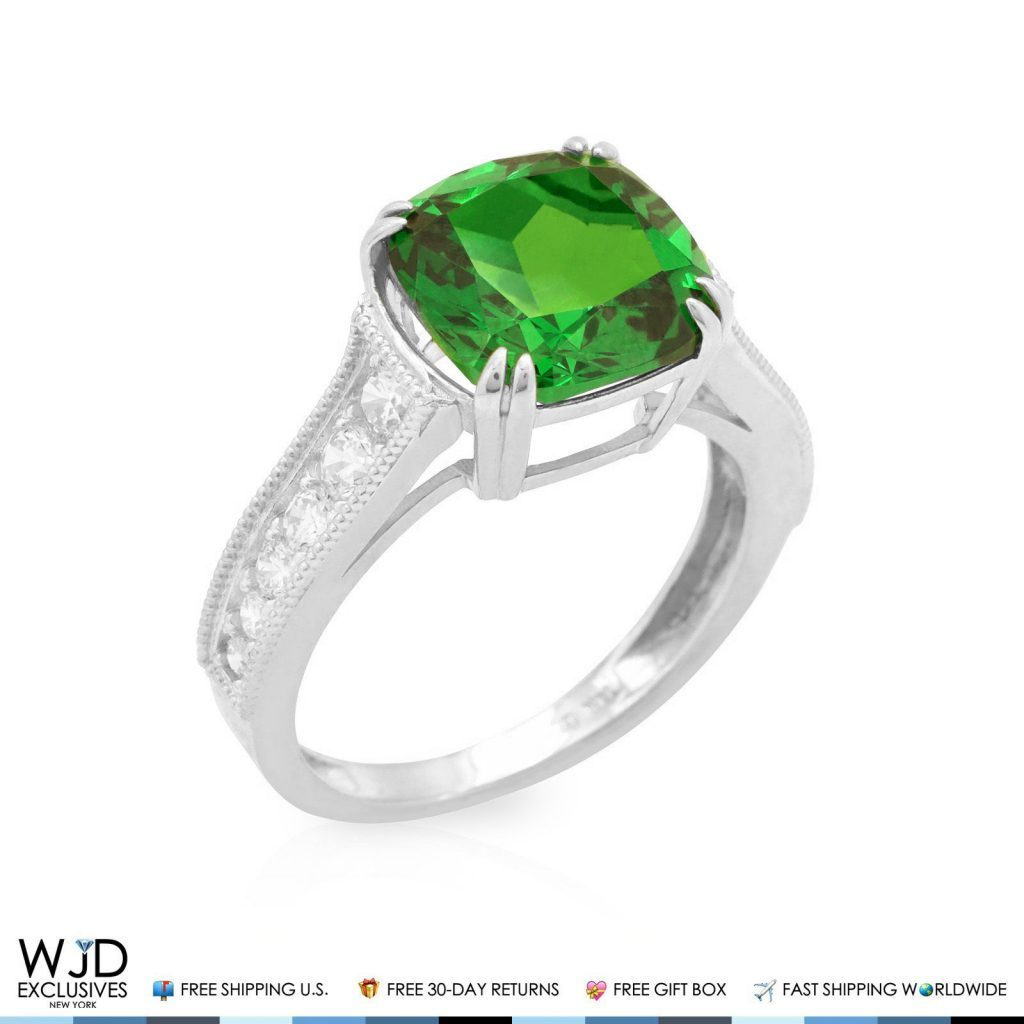 halo emerald cushion aa vintage platinum rg itm cut diamond gold ring inspired