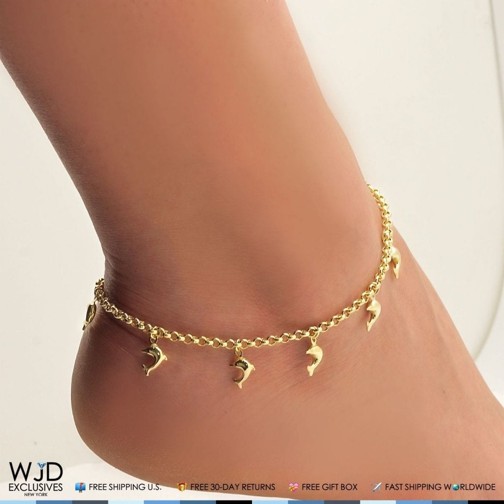 """10K Yellow Gold Dolphin Rolo Spring Ring Clasp Anklet Bracelet 10/"""""""