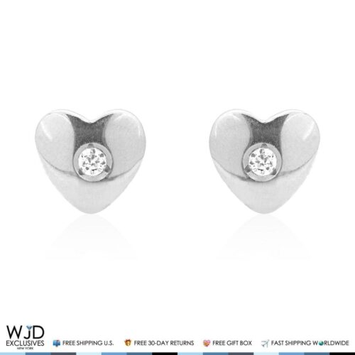14k Solid White Gold Zircon Heart Back Stud Kids Earrings 6mm