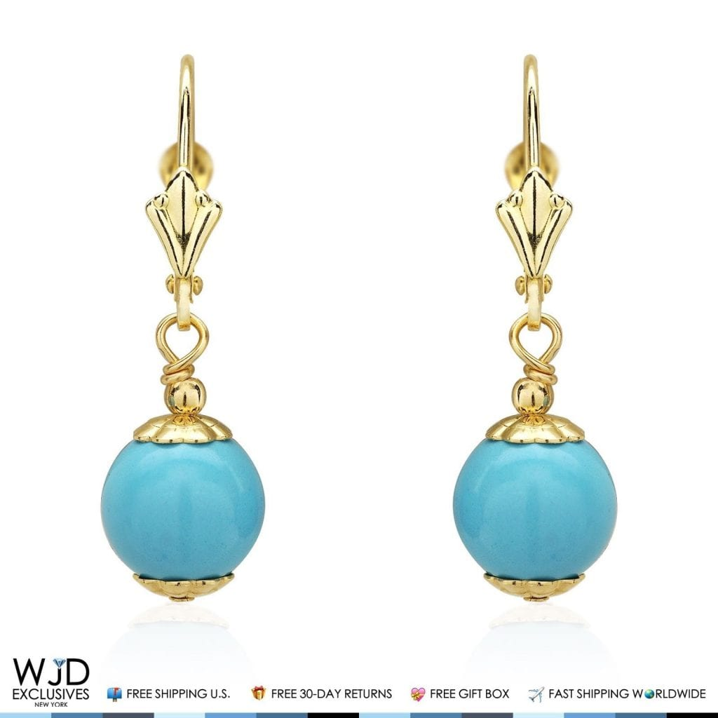 14k solid yellow gold 8 mm ball shaped turquoise leverback. Black Bedroom Furniture Sets. Home Design Ideas