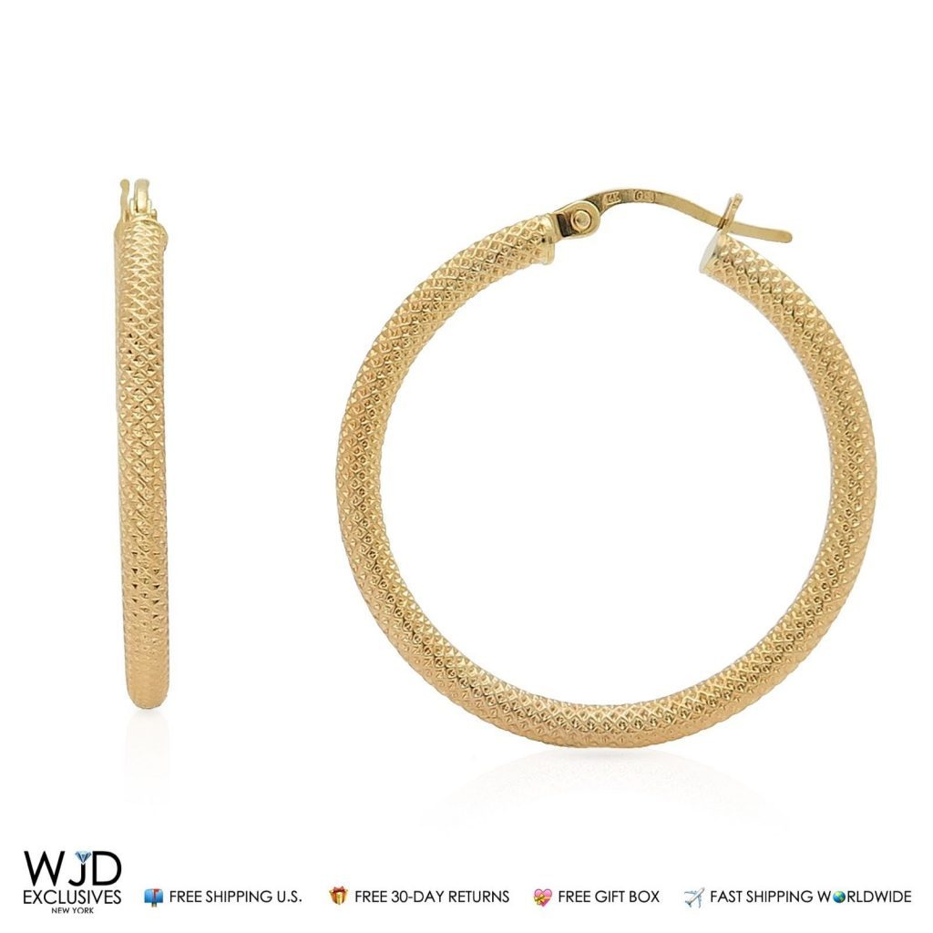 2 5 Mm Earrings: 14K Solid Yellow Gold Mesh Textured 2.5mm Thick Hoop