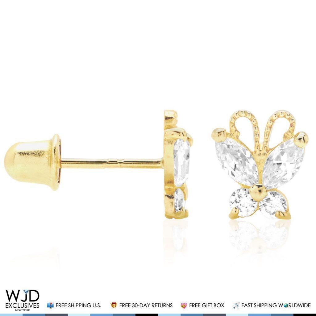 14k Solid Yellow Gold White Zircon Erfly Baby Back Stud Kid Earrings