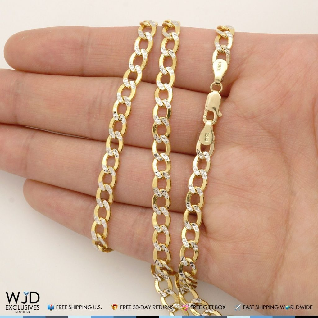 4 4mm Wide Diamond Cut Cuban Curb Link Chain Necklace 10k
