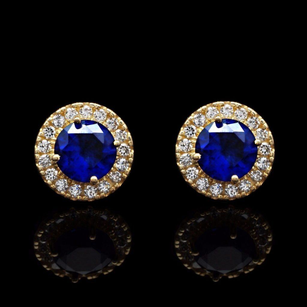 d1ebda0b2 1.30Ct Simulated Diamond 14K Yellow Gold Blue Sapphire Round Halo Stud  Earrings | WJD Exclusives