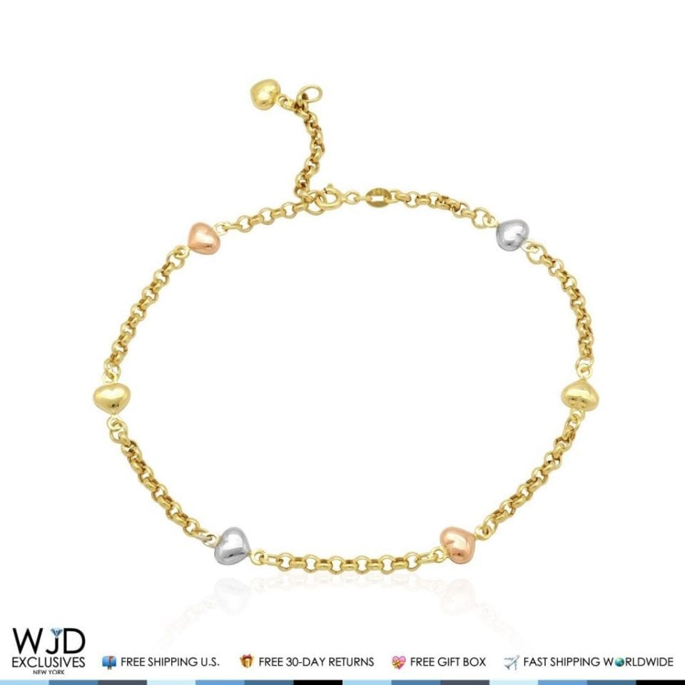 14K Solid Tricolor Gold Heart Rolo Link Spring Ring Clasp ...