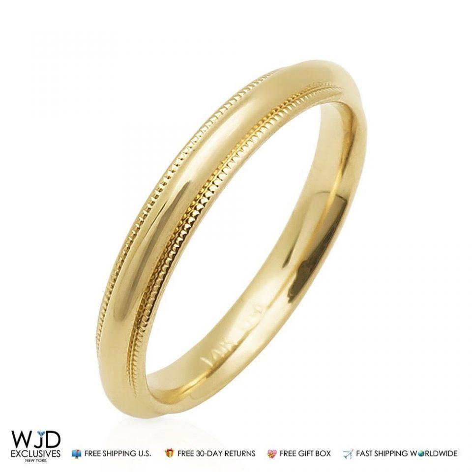 14K Solid Yellow Gold 3mm High Polish Milgrain Wedding Band Ring