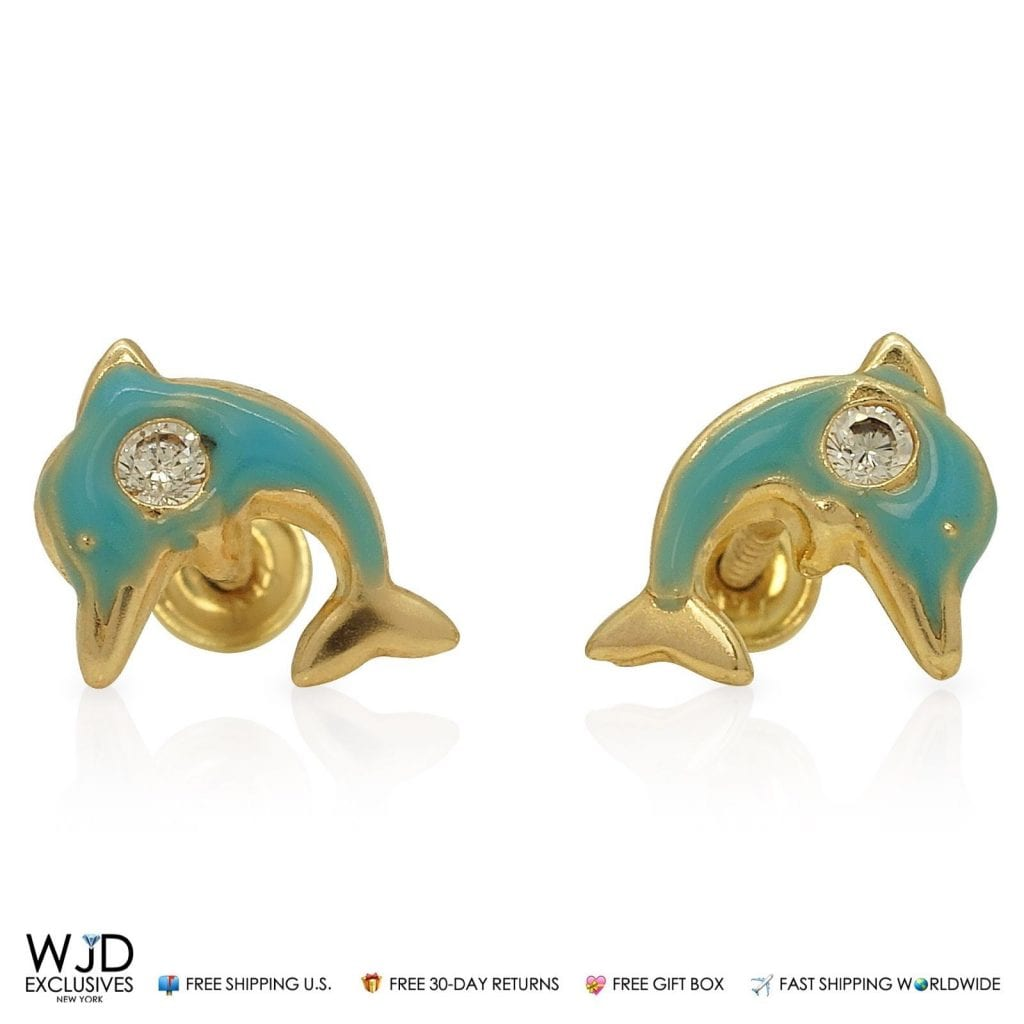 14K Solid Yellow Gold Green Enamel & Zircon Dolphin Screwback Stud ...