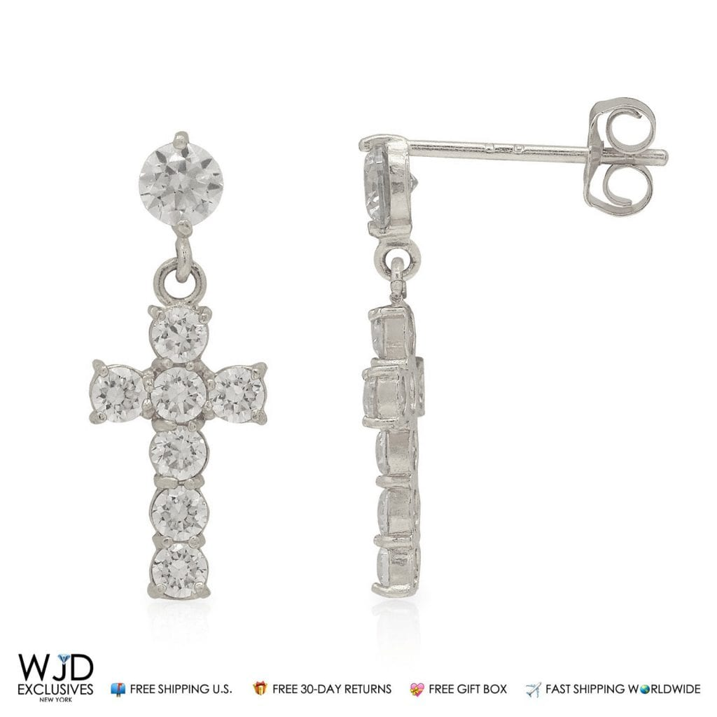 1ct created diamond cross shape dangle stud earrings 14k