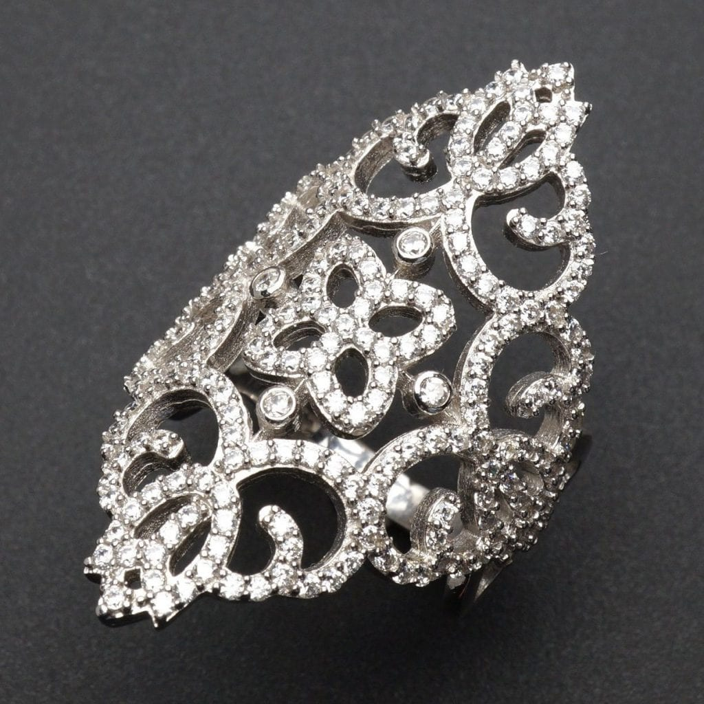 7 3Ct Simulated Diamond Royal Floral Ornate Ring 925 Sterling Silver Size 6 8