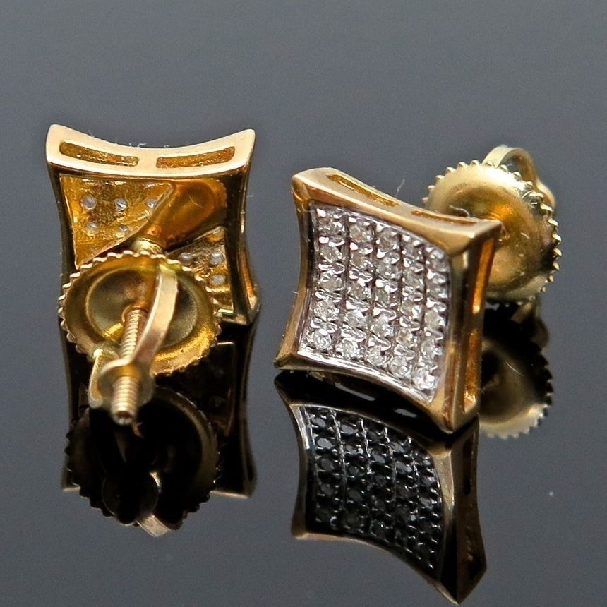 8dcd4a3aa .40Ct Natural Diamond 10K Yellow Gold Micro Pave Kite Square Screwback  Earrings