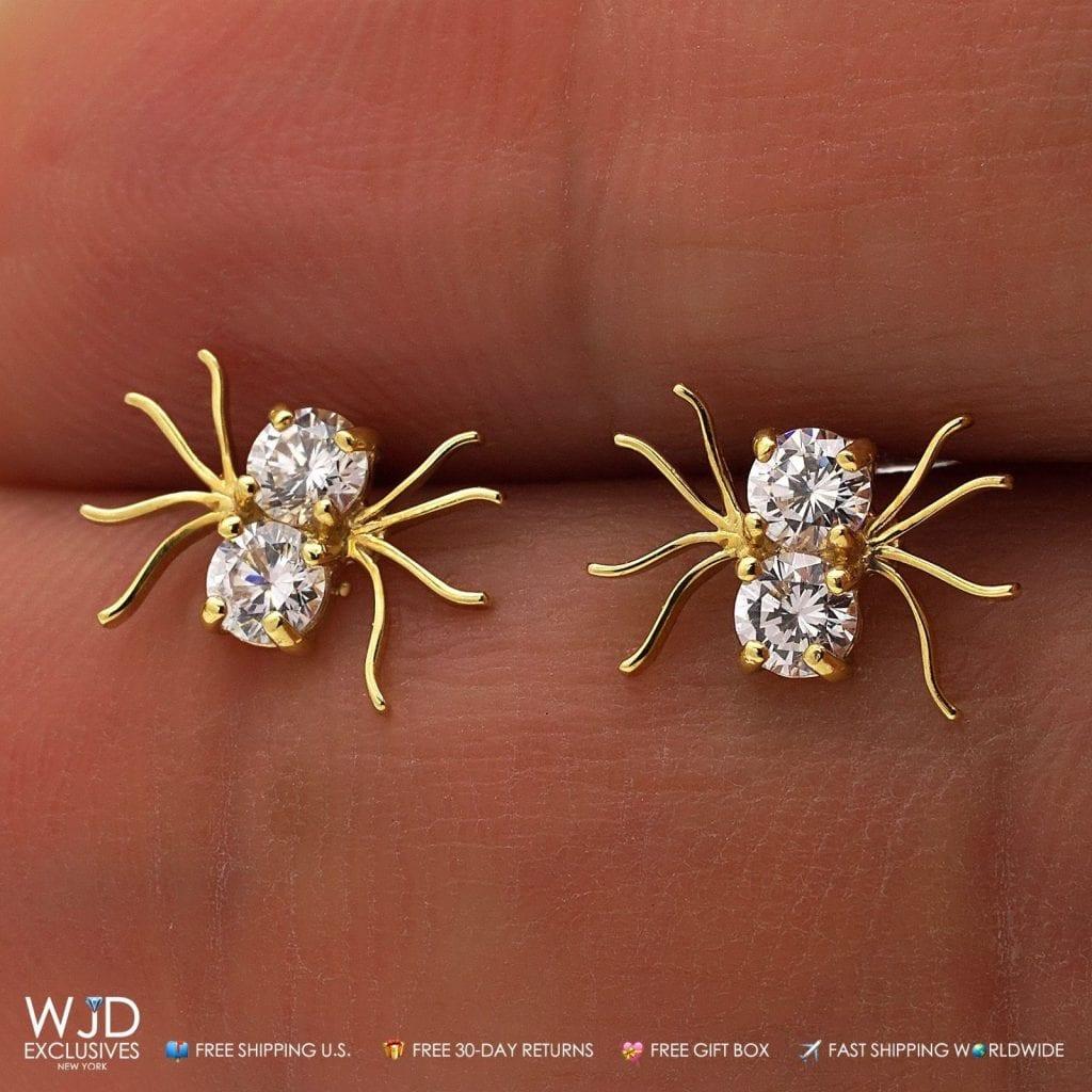0 80ct Created Diamond Small Spider Stud Earrings 14k Real