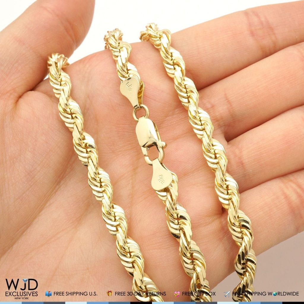 itm cut diamond rope ebay worldwide shipping solid fast yellow link necklace thick gold heavy chain