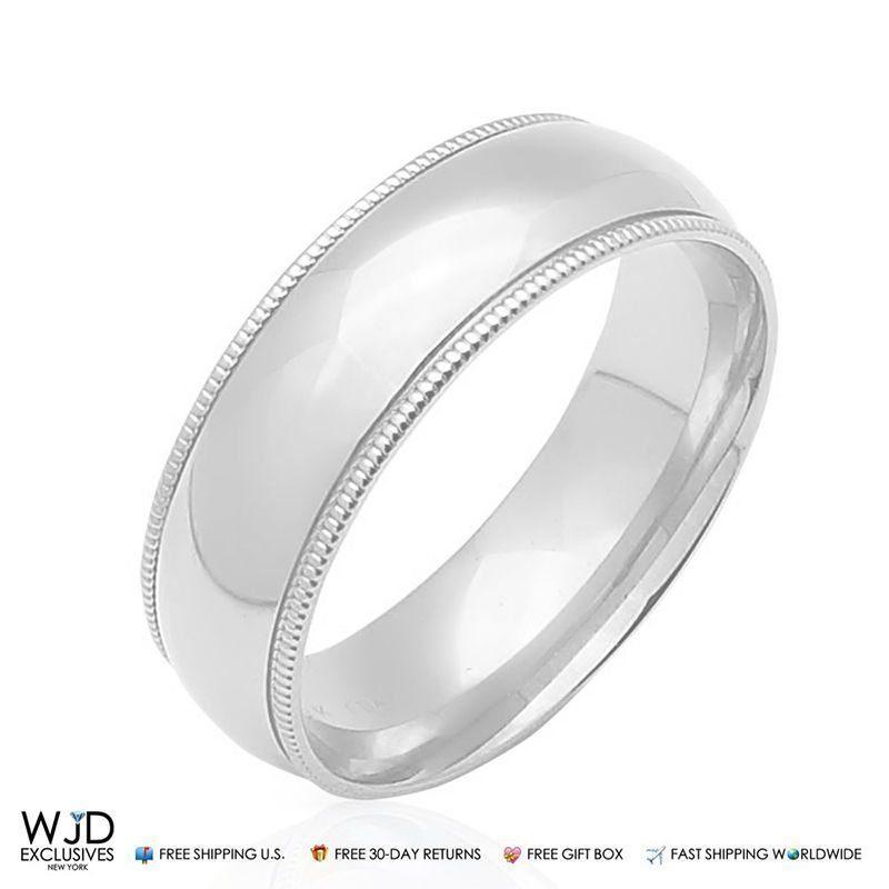 14K Solid White Gold 6mm High Polish Milgrain Wedding Band Ring Size