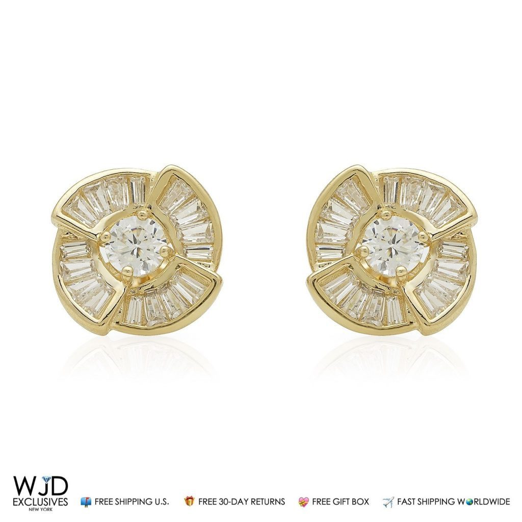 diamond baguette yellow product gold earrings in