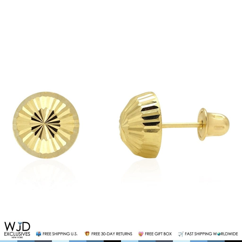 8030fd6a6 14K Solid Yellow Gold Diamond Cut Half Ball Stud Earrings 8mm | WJD  Exclusives
