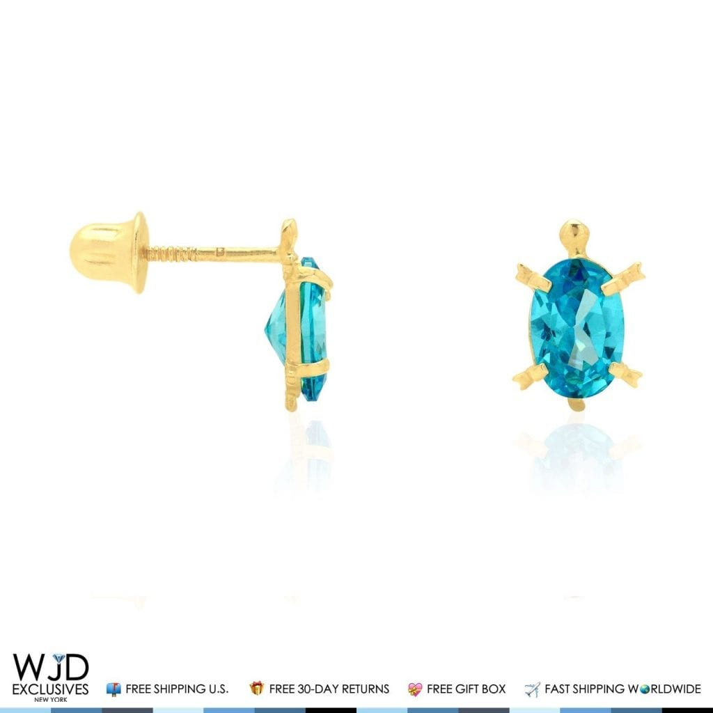 afdcc85ad 14k Yellow Gold Oval Birthstone Turtle Screw Back Stud Kid Earrings ...
