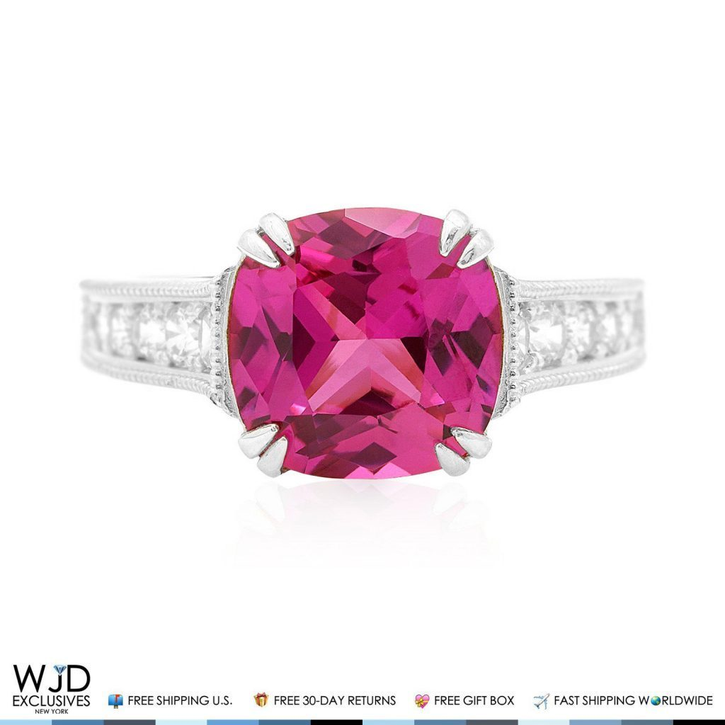 5Ct Cushion-Cut Pink Sapphire & Diamond Engagement Ring 14K White ...