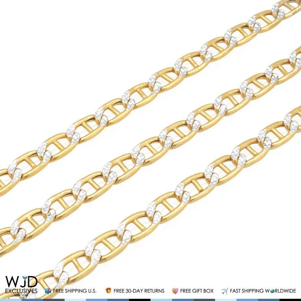 6mm Wide Diamond Cut Marine Anchor Link Chain Necklace 10k