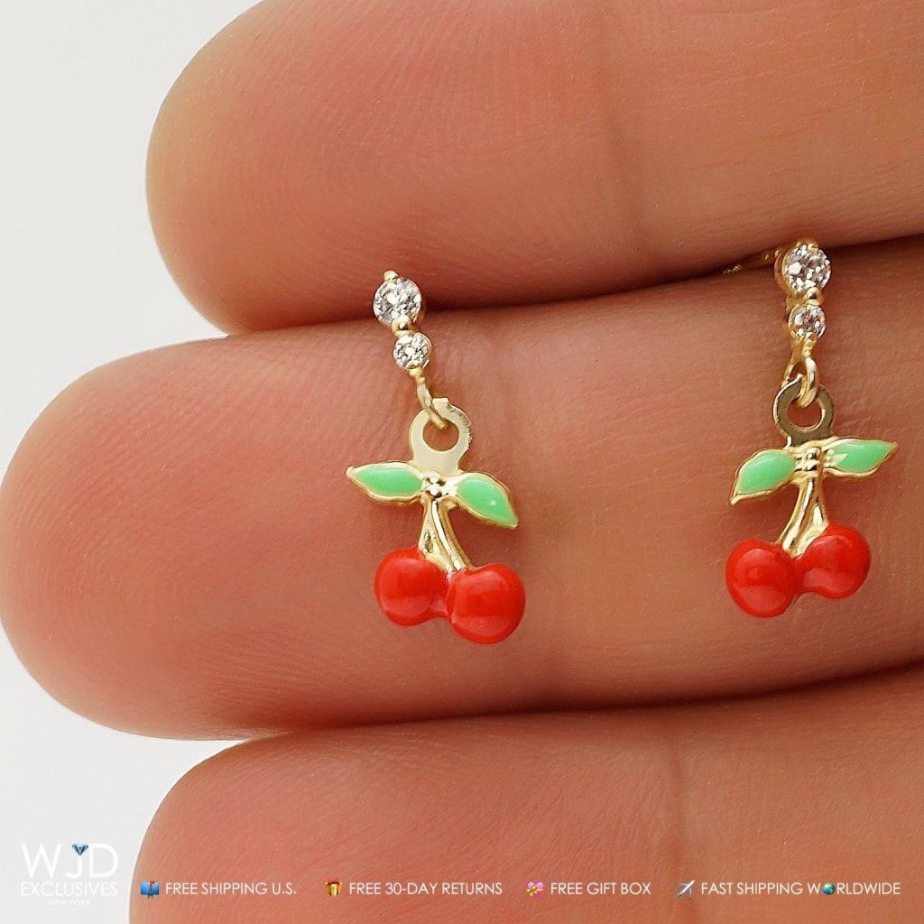 0 20ct Created Diamond Cherry Dangle Stud Earrings 14k
