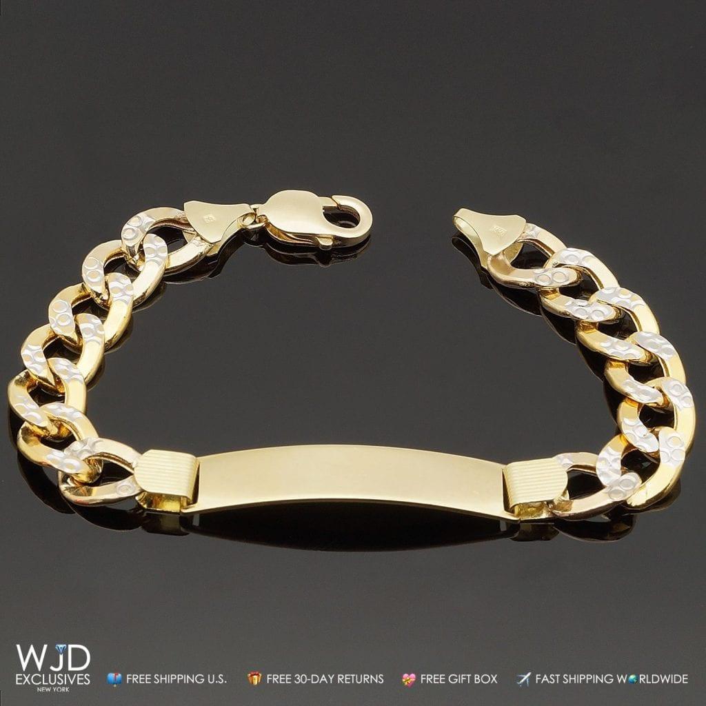 a35130cd44c0c 10K Solid Yellow Gold Cuban Curb Link Diamond Cut Men's I.D. Bracelet 8.5