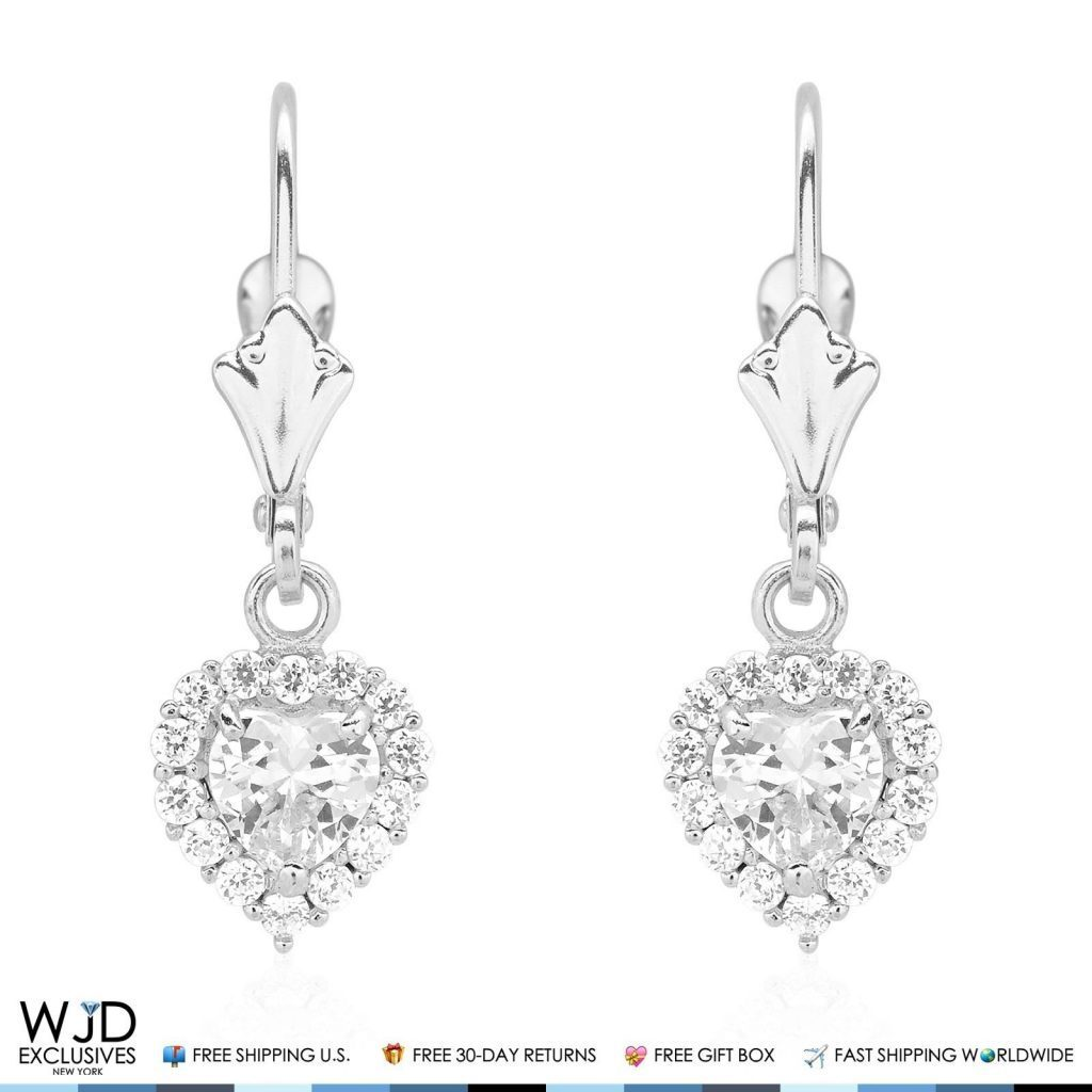 513b494b0 14K White Gold 1Ct Simulated Diamond Halo Heart Dangle Drop Leverback  Earrings   WJD Exclusives