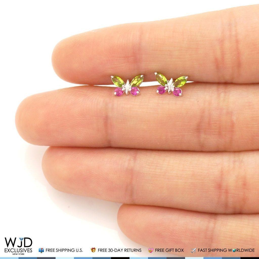 14K Solid White Gold Peridot /& Ruby Butterfly Baby Screwback Stud Kids Earrings