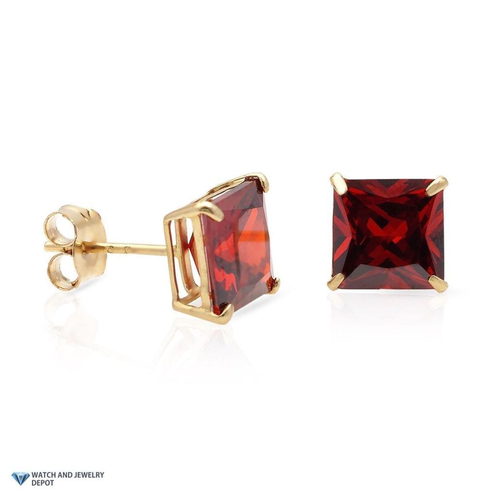 2 Ct Garnet Princess Cut Stud Earrings 14Kt Yellow Gold