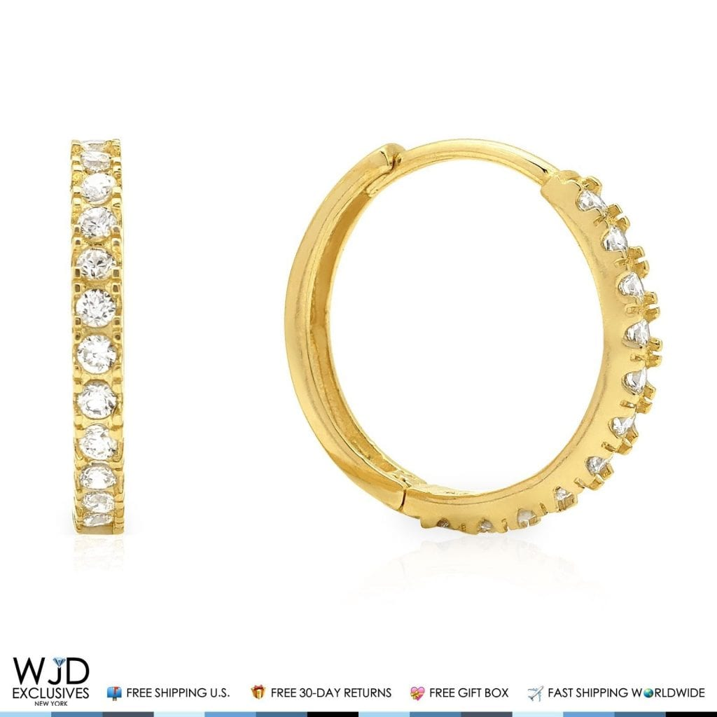0.50Ct Created Diamond Huggie Hoop Earrings 14K Yellow Gold Round Cut VVS1