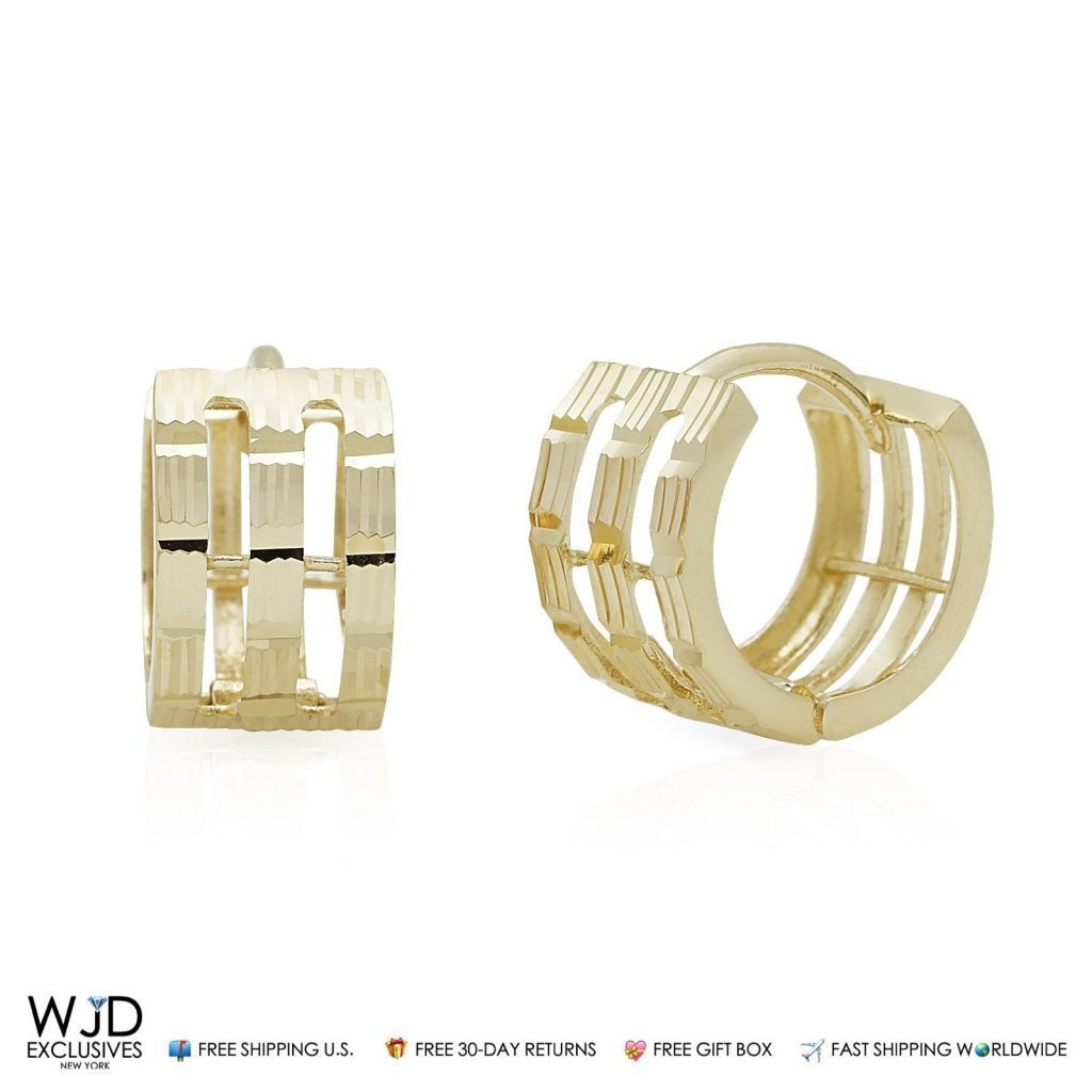 af6748afe 14k Solid Yellow Gold 6mm Wide Diamond Cut Huggie Hoop Earrings 10.5mm |  WJD Exclusives