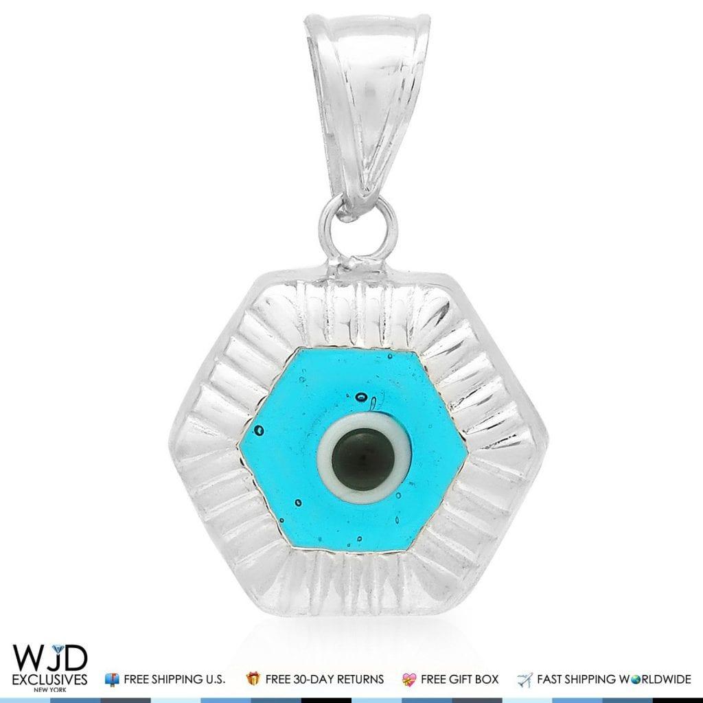 14k White Gold Hexagonal Shape Evil Eye Good Luck Charm Pendant 20mm