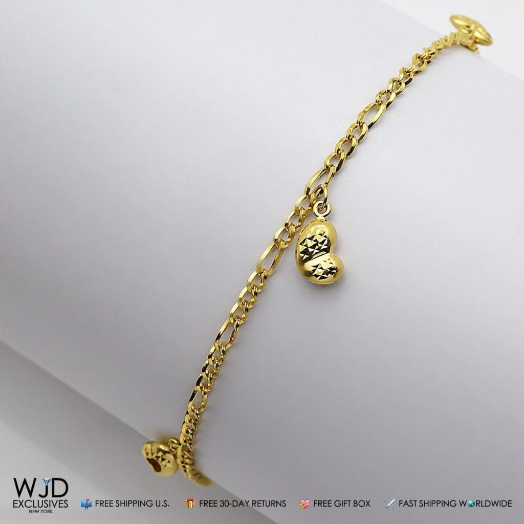 14k Yellow Gold Diamond Cut Figaro Link Heart Shape Charm. Wedding Set Diamond. Sterling Silver Anklet Ankle Bracelet. Light Weight Gold Earrings. Gem Engagement Rings. Wholesale Rings. Costly Diamond. Man Engraved Bracelet. Bridal Bracelet