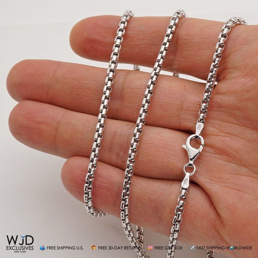 """Solid 925 Sterling Silver 3mm Round Box Chain Necklace 22/""""-30/"""""""