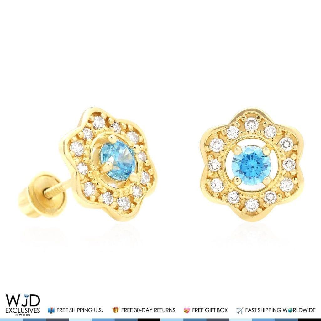 0 50ct Diamond Amp Aquamarine Flower Shape Cluster Stud