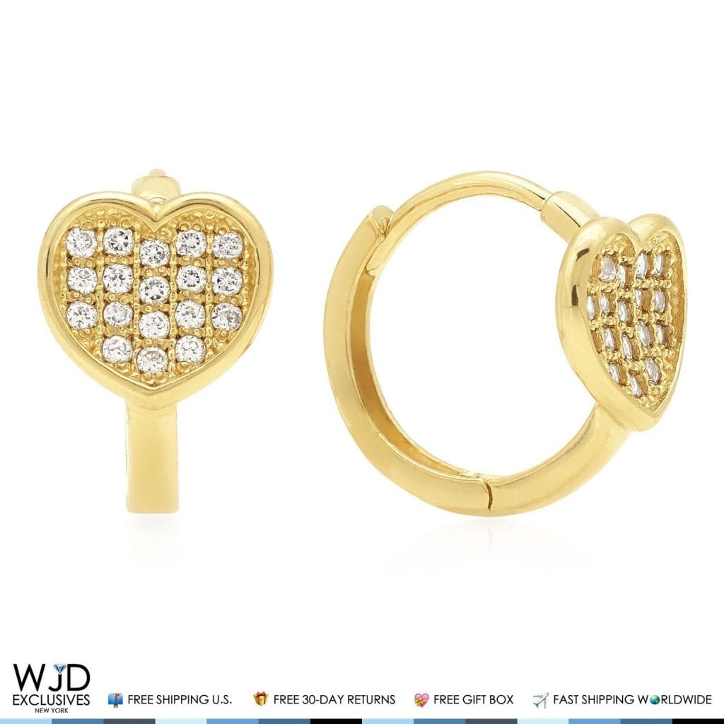 3773277a5 14K Solid Yellow Gold 0.40Ct Diamond Heart Shape Small Huggie Hoop Earrings  12mm   WJD Exclusives
