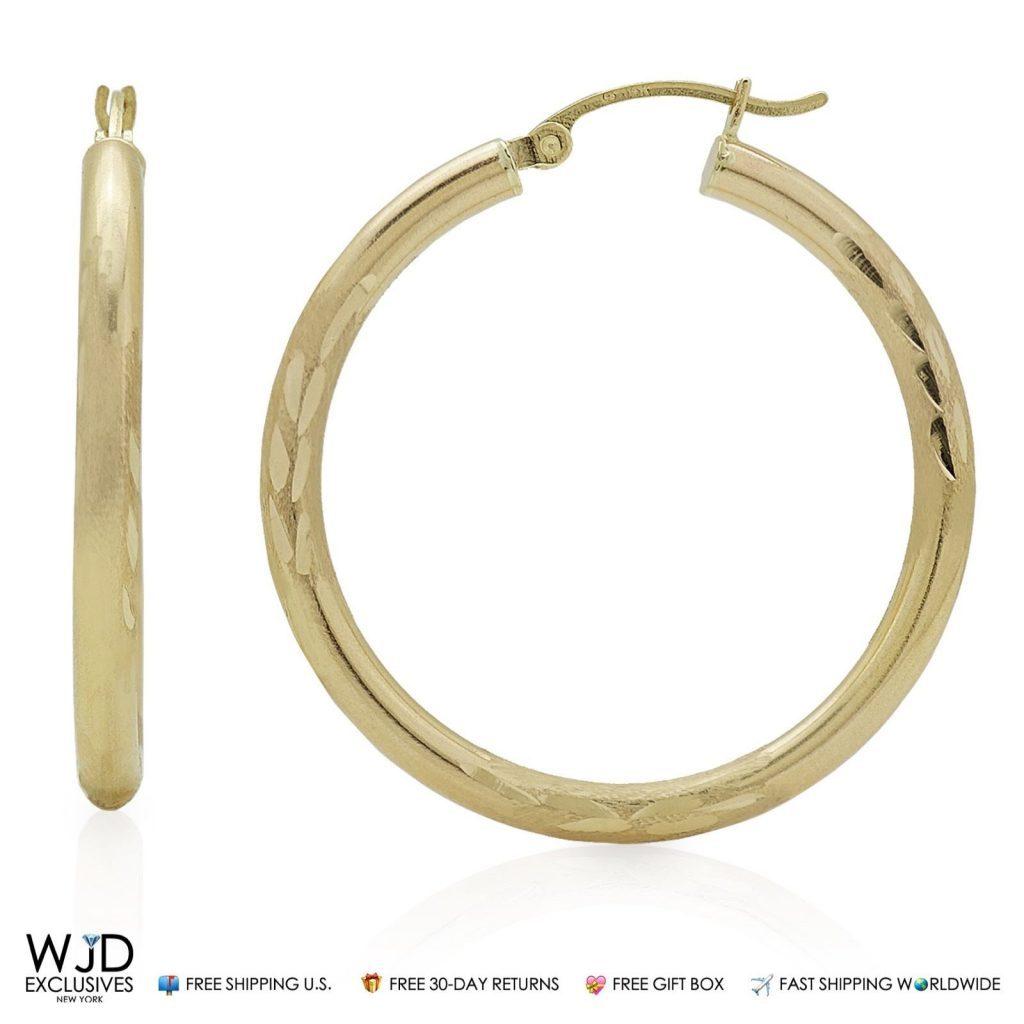 """14K Solid Yellow Gold 3mm Wide Diamond Cut Hoop Earrings 1/"""""""